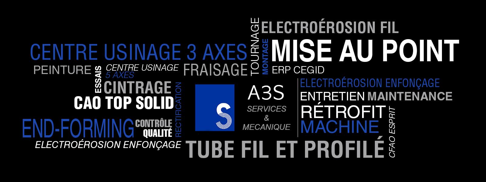 Nuage de tags compétences A3S Mecanique : cintrage, tournage, etc.
